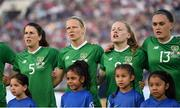 3 August 2019; Republic of Ireland players, from left, Niamh Fahey, Diane Caldwell, Amber Barrett and Jess Gargan sing their national anthem prior to the Women's International Friendly match between USA and Republic of Ireland at Rose Bowl in Pasadena, California, USA. Photo by Cody Glenn/Sportsfile