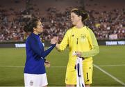 3 August 2019; Carli Lloyd of USA and Marie Hourihan of Republic of Ireland following the Women's International Friendly match between USA and Republic of Ireland at Rose Bowl in Pasadena, California, USA. Photo by Cody Glenn/Sportsfile