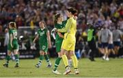 3 August 2019; Republic of Ireland's Claire O'Riordan and goalkeeper Marie Hourihan following the Women's International Friendly match between USA and Republic of Ireland at Rose Bowl in Pasadena, California, USA. Photo by Cody Glenn/Sportsfile