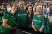 3 August 2019; Harriet Scott of Republic of Ireland poses for a photograph with her father Neil, sister Katie and mother Maria following the Women's International Friendly match between USA and Republic of Ireland at Rose Bowl in Pasadena, California, USA. Photo by Cody Glenn/Sportsfile