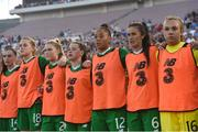 3 August 2019; Republic of Ireland substitutes, from left, Lauren Dwyer, Claire Walsh, Eabha O'Mahony, Emily Whelan, Rianna Jarrett, Alex Kavanaugh, and Grace Moloney during the national anthem prior to the Women's International Friendly match between USA and Republic of Ireland at Rose Bowl in Pasadena, California, USA. Photo by Cody Glenn/Sportsfile