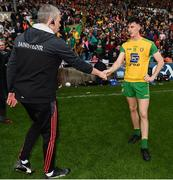 3 August 2019; Mayo manager James Horan shakes hands with Michael Langan of Donegal after the GAA Football All-Ireland Senior Championship Quarter-Final Group 1 Phase 3 match between Mayo and Donegal at Elvery's MacHale Park in Castlebar, Mayo. Photo by Brendan Moran/Sportsfile