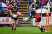 3 August 2019; Micheál Schlingermann of Mayo, right and Rob Hennelly warm up prior to the GAA Football All-Ireland Senior Championship Quarter-Final Group 1 Phase 3 match between Mayo and Donegal at Elvery's MacHale Park in Castlebar, Mayo. Photo by Brendan Moran/Sportsfile