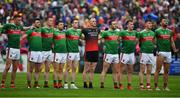 3 August 2019; The Mayo team stand together for the national anthem Amnran na bhFiann prior to the GAA Football All-Ireland Senior Championship Quarter-Final Group 1 Phase 3 match between Mayo and Donegal at Elvery's MacHale Park in Castlebar, Mayo. Photo by Brendan Moran/Sportsfile