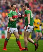 3 August 2019; Andy Moran of Mayo comes on as a substitute for team-mate Darren Coen during the GAA Football All-Ireland Senior Championship Quarter-Final Group 1 Phase 3 match between Mayo and Donegal at Elvery's MacHale Park in Castlebar, Mayo. Photo by Brendan Moran/Sportsfile