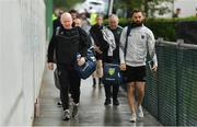 3 August 2019; Donegal manager Declan Bonner, left, and coach Karl Lacey arrive prior to the GAA Football All-Ireland Senior Championship Quarter-Final Group 1 Phase 3 match between Mayo and Donegal at Elvery's MacHale Park in Castlebar, Mayo. Photo by Brendan Moran/Sportsfile