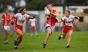 3 August 2019; Niamh Cotter of Cork in action against Aoibhinn McHugh, left, and Niamh McGirr of Tyrone during the TG4 All-Ireland Ladies Football Senior Championship Quarter-Final match between Cork and Tyrone at Duggan Park in Ballinasloe, Galway. Photo by Ray McManus/Sportsfile