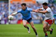 4 August 2019; Robert McDaid of Dublin in action against Liam Rafferty of Tyrone during the GAA Football All-Ireland Senior Championship Quarter-Final Group 2 Phase 3 match between Tyrone and Dublin at Healy Park in Omagh, Tyrone. Photo by Brendan Moran/Sportsfile