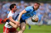 4 August 2019; Paddy Small of Dublin in action against Aidan McCrory of Tyrone during the GAA Football All-Ireland Senior Championship Quarter-Final Group 2 Phase 3 match between Tyrone and Dublin at Healy Park in Omagh, Tyrone. Photo by Brendan Moran/Sportsfile