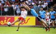 4 August 2019; Conall McCann of Tyrone in action against Andrew McGowan of Dublin during the GAA Football All-Ireland Senior Championship Quarter-Final Group 2 Phase 3 match between Tyrone and Dublin at Healy Park in Omagh, Tyrone. Photo by Oliver McVeigh/Sportsfile