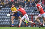 4 August 2019; Conor Cox of Roscommon in action against Ruairi Deane of Cork during the GAA Football All-Ireland Senior Championship Quarter-Final Group 2 Phase 3 match between Cork and Roscommon at Páirc Uí Rinn in Cork. Photo by Matt Browne/Sportsfile