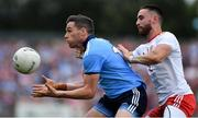 4 August 2019; Paddy Andrews of Dublin in action against Pádraig Hampsey of Tyrone during the GAA Football All-Ireland Senior Championship Quarter-Final Group 2 Phase 3 match between Tyrone and Dublin at Healy Park in Omagh, Tyrone. Photo by Brendan Moran/Sportsfile