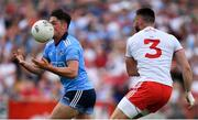 4 August 2019; Eric Lowndes of Dublin in action against Pádraig Hampsey of Tyrone during the GAA Football All-Ireland Senior Championship Quarter-Final Group 2 Phase 3 match between Tyrone and Dublin at Healy Park in Omagh, Tyrone. Photo by Brendan Moran/Sportsfile