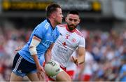 4 August 2019; Robert McDaid of Dublin in action against Pádraig Hampsey of Tyrone during the GAA Football All-Ireland Senior Championship Quarter-Final Group 2 Phase 3 match between Tyrone and Dublin at Healy Park in Omagh, Tyrone. Photo by Brendan Moran/Sportsfile
