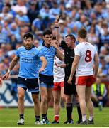 4 August 2019; Diarmuid Connolly of Dublin is shown a black card by referee Joe McQuillan during the GAA Football All-Ireland Senior Championship Quarter-Final Group 2 Phase 3 match between Tyrone and Dublin at Healy Park in Omagh, Tyrone. Photo by Brendan Moran/Sportsfile