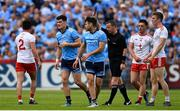 4 August 2019; Diarmuid Connolly of Dublin leaves the pitch after being shown a black card by referee Joe McQuillan during the GAA Football All-Ireland Senior Championship Quarter-Final Group 2 Phase 3 match between Tyrone and Dublin at Healy Park in Omagh, Tyrone. Photo by Brendan Moran/Sportsfile