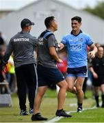 4 August 2019; Diarmuid Connolly of Dublin is greeted by Dublin manager Jim Gavin as he leaves the pitch after being shown a black card during the GAA Football All-Ireland Senior Championship Quarter-Final Group 2 Phase 3 match between Tyrone and Dublin at Healy Park in Omagh, Tyrone. Photo by Brendan Moran/Sportsfile