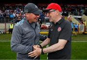 4 August 2019; Dublin manager Jim Gavin, left, and Tyrone manager Mickey Harte shake hands after the GAA Football All-Ireland Senior Championship Quarter-Final Group 2 Phase 3 match between Tyrone and Dublin at Healy Park in Omagh, Tyrone. Photo by Brendan Moran/Sportsfile