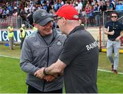 4 August 2019; Dublin manager Jim Gavin and Tyrone manager Mickey Harte exchange handshakes after the GAA Football All-Ireland Senior Championship Quarter-Final Group 2 Phase 3 match between Tyrone and Dublin at Healy Park in Omagh, Tyrone. Photo by Oliver McVeigh/Sportsfile