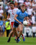 4 August 2019; Peadar Ó Cofaigh Byrne of Dublin in action against Michael McKernan of Tyrone during the GAA Football All-Ireland Senior Championship Quarter-Final Group 2 Phase 3 match between Tyrone and Dublin at Healy Park in Omagh, Tyrone. Photo by Brendan Moran/Sportsfile