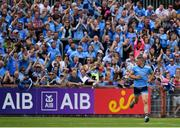 4 August 2019; Eoghan O'Gara of Dublin celebrates after scoring his side's first goal during the GAA Football All-Ireland Senior Championship Quarter-Final Group 2 Phase 3 match between Tyrone and Dublin at Healy Park in Omagh, Tyrone. Photo by Brendan Moran/Sportsfile