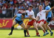 4 August 2019; Bernard Brogan of Dublin in action against Ciaran McLaughlin of Tyrone during the GAA Football All-Ireland Senior Championship Quarter-Final Group 2 Phase 3 match between Tyrone and Dublin at Healy Park in Omagh, Tyrone. Photo by Oliver McVeigh/Sportsfile