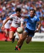 4 August 2019; Conall McCann of Tyrone in action against Seán Bugler of Dublin during the GAA Football All-Ireland Senior Championship Quarter-Final Group 2 Phase 3 match between Tyrone and Dublin at Healy Park in Omagh, Tyrone. Photo by Brendan Moran/Sportsfile