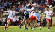 4 August 2019; Diarmuid Connolly of Dublin in action against Darren McCurry and Michael McKernan of Tyrone during the GAA Football All-Ireland Senior Championship Quarter-Final Group 2 Phase 3 match between Tyrone and Dublin at Healy Park in Omagh, Tyrone. Photo by Oliver McVeigh/Sportsfile