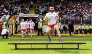 4 August 2019; Pádraig Hampsey of Tyrone leads the the team out before the GAA Football All-Ireland Senior Championship Quarter-Final Group 2 Phase 3 match between Tyrone and Dublin at Healy Park in Omagh, Tyrone. Photo by Oliver McVeigh/Sportsfile