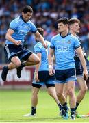 4 August 2019; Rory O'Carroll and Diarmuid Connolly of Dublin before the GAA Football All-Ireland Senior Championship Quarter-Final Group 2 Phase 3 match between Tyrone and Dublin at Healy Park in Omagh, Tyrone. Photo by Oliver McVeigh/Sportsfile