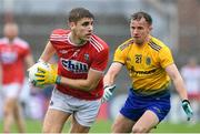 4 August 2019; Ian Maguire of Cork in action against Aengus Lyons of Roscommon during the GAA Football All-Ireland Senior Championship Quarter-Final Group 2 Phase 3 match between Cork and Roscommon at Páirc Uí Rinn in Cork. Photo by Matt Browne/Sportsfile