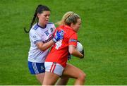 5 August 2019; Katie Quirke of Cork in action against Macayla Grennan of Monaghan during the All-Ireland Ladies Football Minor A Championship Final match between Cork and Monaghan at Bord na Móna O'Connor Park in Tullamore, Offaly. Photo by Piaras Ó Mídheach/Sportsfile