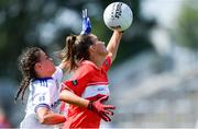 5 August 2019; Ellie Jack of Cork in action against Jane Duffy of Monaghan during the All-Ireland Ladies Football Minor A Championship Final match between Cork and Monaghan at Bord na Móna O'Connor Park in Tullamore, Offaly. Photo by Piaras Ó Mídheach/Sportsfile