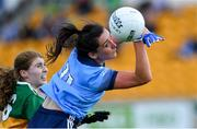 5 August 2019; Niamh McEvoy of Dublin in action against Tara Breen of Kerry during the TG4 All-Ireland Ladies Football Senior Championship Quarter-Final match between Dublin and Kerry at Bord na Móna O'Connor Park in Tullamore, Offaly. Photo by Piaras Ó Mídheach/Sportsfile