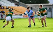 5 August 2019; Niamh McEvoy of Dublin in action against Julie O'Sullivan, left, and Amanda Brosnan of Kerry during the TG4 All-Ireland Ladies Football Senior Championship Quarter-Final match between Dublin and Kerry at Bord na Móna O'Connor Park in Tullamore, Offaly. Photo by Piaras Ó Mídheach/Sportsfile