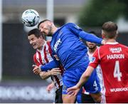 5 August 2019; Ciarán Coll of Derry City in action against Shane Duggan of Waterford United during the EA Sports Cup semi-final match between Derry City and Waterford at Ryan McBride Brandywell Stadium in Derry. Photo by Oliver McVeigh/Sportsfile