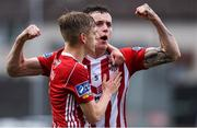 5 August 2019; David Parkhouse of Derry City celebrates with Ciaron Harkin after scoring his side's first goal during the EA Sports Cup semi-final match between Derry City and Waterford at Ryan McBride Brandywell Stadium in Derry. Photo by Oliver McVeigh/Sportsfile