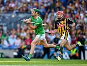 27 July 2019; Seán Finn of Limerick clears ahead of Bill Sheehan of Kilkenny during the GAA Hurling All-Ireland Senior Championship Semi-Final match between Kilkenny and Limerick at Croke Park in Dublin. Photo by Ray McManus/Sportsfile