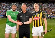 27 July 2019; Referee Alan Kelly with the two captains, Declan Hannon of Limerick and TJ Reid of Kilkenny, before the GAA Hurling All-Ireland Senior Championship Semi-Final match between Kilkenny and Limerick at Croke Park in Dublin. Photo by Ray McManus/Sportsfile