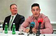 6 August 2019; Boxer Joe Ward, in the company of Joe Winters of Times Square Boxing Co., speaking during a Times Square Boxing Co. press conference at The Westbury Hotel in Dublin. Photo by Brendan Moran/Sportsfile