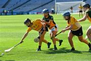 2 August 2019; Eimear Brady of Middle East, left, in action against of Australasia in the Renault GAA World Games Camogie Irish Cup Final during the Renault GAA World Games 2019 Day 5 - Cup Finals at Croke Park in Dublin. Photo by Piaras Ó Mídheach/Sportsfile