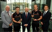 7 August 2019; PwC GAA/GPA Players of the Month for July, footballer Michael Murphy of Donegal, and hurler Patrick Horgan of Cork, were at PwC offices in Dublin today to pick up their respective awards. The players were joined by PwC's Ronan Finn, Uachtarán Cumann Lúthchleas Gael, John Horan, and GPA Chief Executive, Paul Flynn. Pictured are, from left, Uachtarán Cumann Lúthchleas Gael John Horan, Patrick Horgan of Cork, Ronan Finn, PwC Partner, Michael Murphy of Donegal, and Paul Flynn, GPA Chief Executive, at PwC, Spencer Dock, North Wall Quay, Dublin. Photo by Seb Daly/Sportsfile