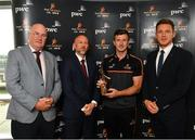7 August 2019; PwC GAA/GPA Players of the Month for July, footballer Michael Murphy of Donegal, and hurler Patrick Horgan of Cork, were at PwC offices in Dublin today to pick up their respective awards. The players were joined by PwC's Ronan Finn, Uachtarán Cumann Lúthchleas Gael, John Horan, and GPA Chief Executive, Paul Flynn. Pictured are, from left, Uachtarán Cumann Lúthchleas Gael John Horan, Ronan Finn, PwC Partner, Patrick Horgan of Cork, and Paul Flynn, GPA Chief Executive, at PwC, Spencer Dock, North Wall Quay, Dublin. Photo by Seb Daly/Sportsfile