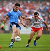 4 August 2019; Diarmuid Connolly of Dublin in action against David Mulgrew of Tyrone during the GAA Football All-Ireland Senior Championship Quarter-Final Group 2 Phase 3 match between Tyrone and Dublin at Healy Park in Omagh, Tyrone. Photo by Brendan Moran/Sportsfile