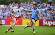4 August 2019; Brian Kennedy of Tyrone in action against Robert McDaid of Dublin during the GAA Football All-Ireland Senior Championship Quarter-Final Group 2 Phase 3 match between Tyrone and Dublin at Healy Park in Omagh, Tyrone. Photo by Brendan Moran/Sportsfile
