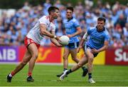 4 August 2019; Conan Grugan of Tyrone in action against Robert McDaid of Dublin during the GAA Football All-Ireland Senior Championship Quarter-Final Group 2 Phase 3 match between Tyrone and Dublin at Healy Park in Omagh, Tyrone. Photo by Brendan Moran/Sportsfile