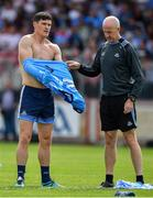 4 August 2019; Diarmuid Connolly of Dublin changes his jersey during the warm-up prior to the GAA Football All-Ireland Senior Championship Quarter-Final Group 2 Phase 3 match between Tyrone and Dublin at Healy Park in Omagh, Tyrone. Photo by Brendan Moran/Sportsfile