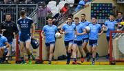 4 August 2019; Dublin players, including Bernard Brogan and Diarmuid Connolly run out prior to the GAA Football All-Ireland Senior Championship Quarter-Final Group 2 Phase 3 match between Tyrone and Dublin at Healy Park in Omagh, Tyrone. Photo by Brendan Moran/Sportsfile