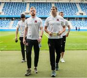 7 August 2019; Sean Hoare, left, and Brian Gartland of Dundalk prior to the UEFA Europa League 3rd Qualifying Round 1st Leg match between SK Slovan Bratislava and Dundalk at Tehelné pole Stadium in Bratislava, Slovakia. Photo by Vid Ponikvar/Sportsfile