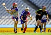 2 August 2019; Aislinn Kotifani of Twin Cities, USGAA, left, in action against Katie Wahler of The Warriors, USGAA, in the Renault GAA World Games Camogie Native Cup Final during the Renault GAA World Games 2019 Day 5 - Cup Finals at Croke Park in Dublin. Photo by Piaras Ó Mídheach/Sportsfile